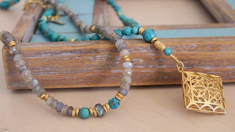 Labradorite Turquoise Beaded Necklace Gold Pendant Ethnic Necklace Jewelry Bohemian Necklace for Her Girlfriend Gift ooak Unique Necklace