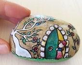 The Secret Garden OOAK Rock Art. Original Mixed Media hand painted Stone. Unique Wedding gift. Artistic present for Bookworms