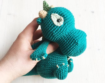 Amigurumi winged Dragon. Crocheted soft green Creature from original Mammabook's pattern. Birthday gift for Dragon and Fantasy lovers