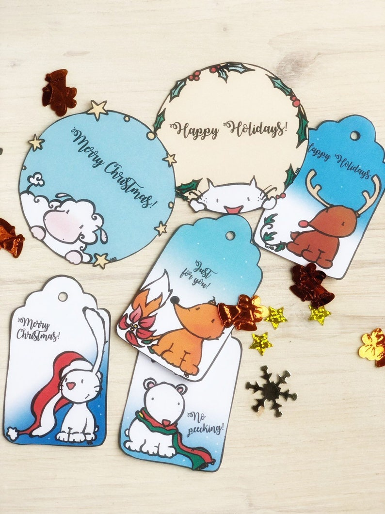 Printable Christmas Tags. Two round and four rectangular image 0