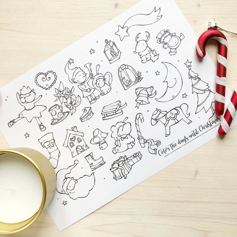 Coloring Advent Calendar for Kids and Grownups. PDF file image 0