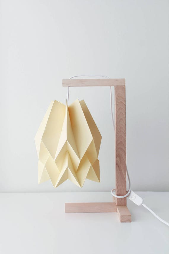 Origami Lamp | Table Lamp Plain Pale Yellow With Wooden Structure