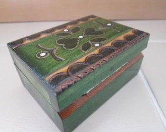 Collectible hand carved wooden box green with hearts