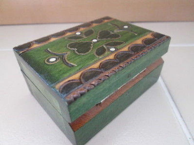 Collectible hand carved wooden box green with hearts image 0