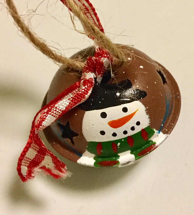 Three 3 snowman painted jingle bell tree ornament for your image 0