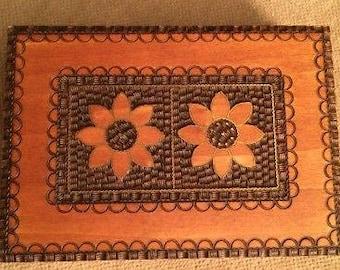 Wooden Trinket Jewelry Keepsake Hinged Box