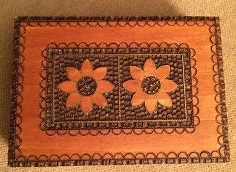 Wooden Trinket Jewelry Keepsake Hinged Box image 0