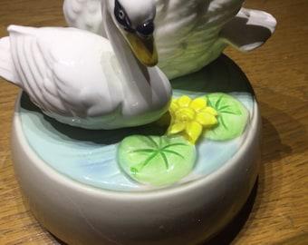 Swan figurine music box