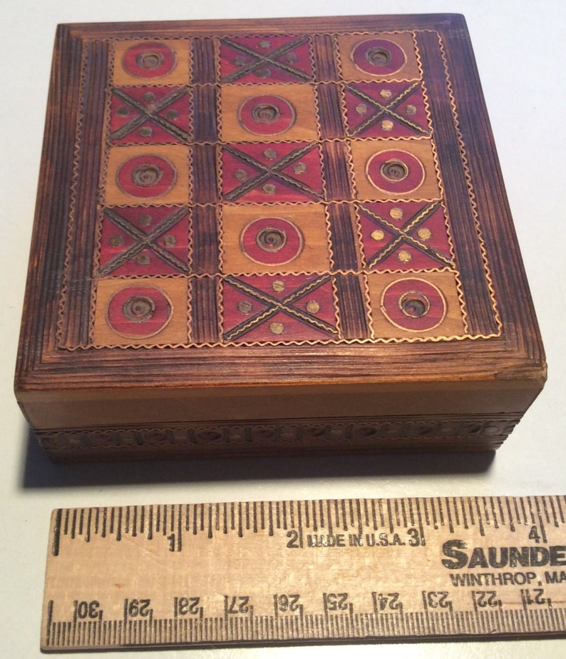 Polish hand made wooden box with tic-tac-toe on lid trinket image 0