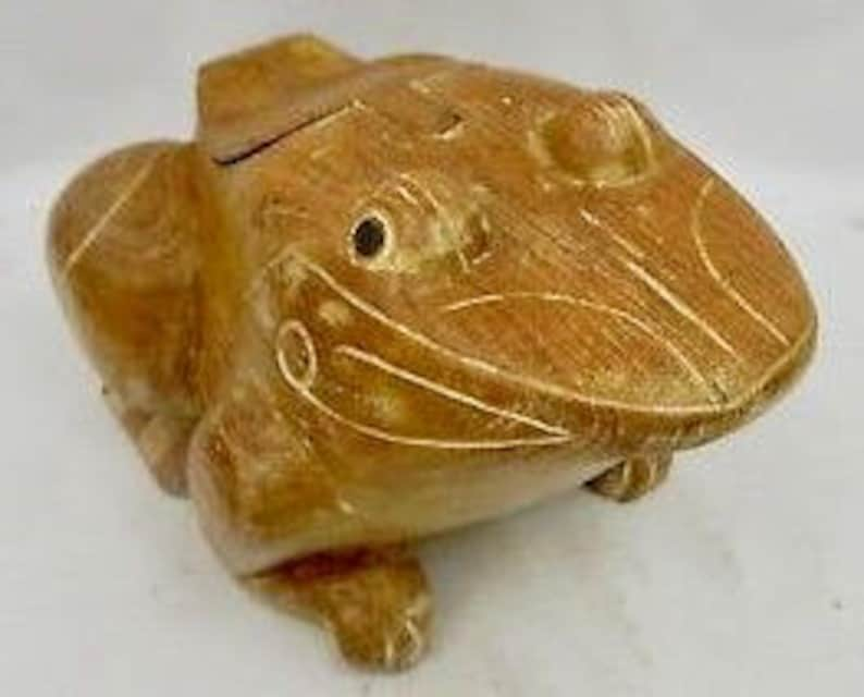 heavy weight large toad wooden carved trinket box with hidden image 0