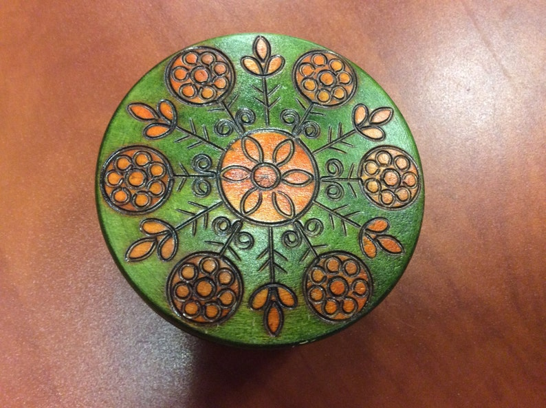 Wooden trinket carved handcrafted jewelry box handmade in image 0