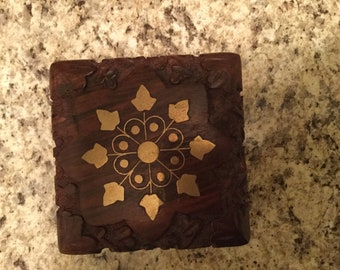 Vintage Hand Decorated Hinge lid, Wooden box from India