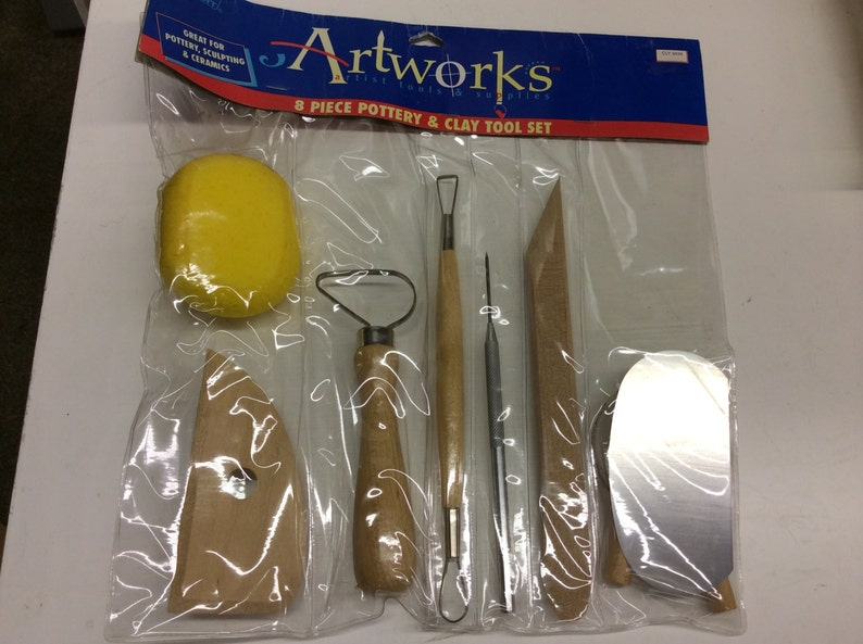 8 piece pottery tool set for wheel thrown or hand built image 0