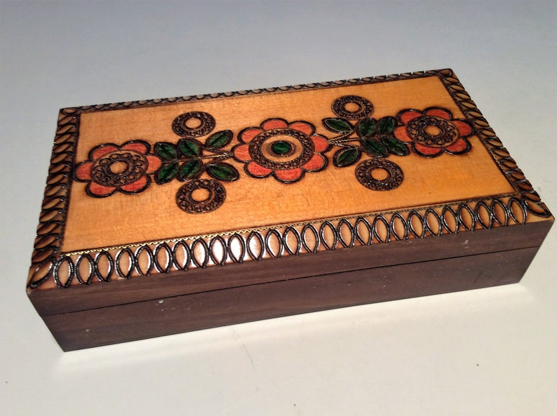 Hand Carved wooden box crafted in Poland artisan with lacquer image 0