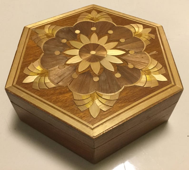 Wood inlay box 6 side collectible gift flower design for any image 0