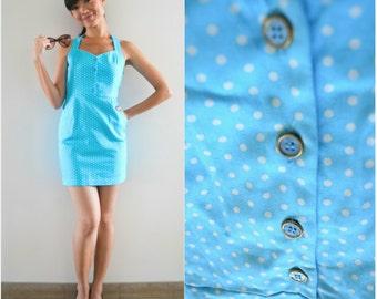 1980 Vintage Dress/ I Love Summer Dress/ Small Dress/ Blue Dress/ Polka Dot Dress/ Retro Dress/ Pocket Dress/ Halter Dress/ Pin Up Dress