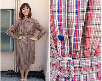 CLEARANCE SALE/ Vintage Dress 1970/ School Uniform Dress/ Uniform Dress/ School Dress/ Medium Dress/ Large Dress/ Plaid Dress/ Checkered