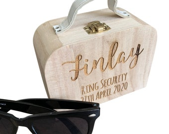 Engraved ring security box, quirky page boy ring bearer box, wedding ring case, personalised ring box, ring briefcase, ring suitcase