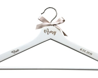 Personalised engraved dress coat hanger and flute set for wedding party bride maid of honour bridesmaid name and role keepsake photo prop
