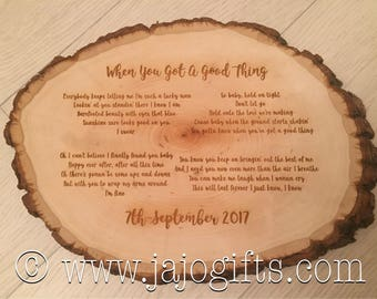 Engraved wood slice etsy wedding first dance lyrics engraved wood log slice perfect groom wedding day gift wooden 5th wedding anniversary stopboris Images