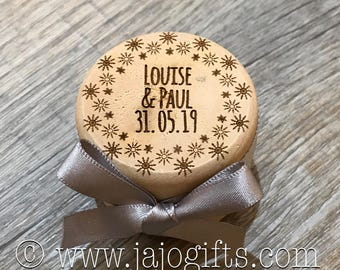 Engraved personalised wooden wedding ring box with satin ribbon winter snowflake JEWWRB17