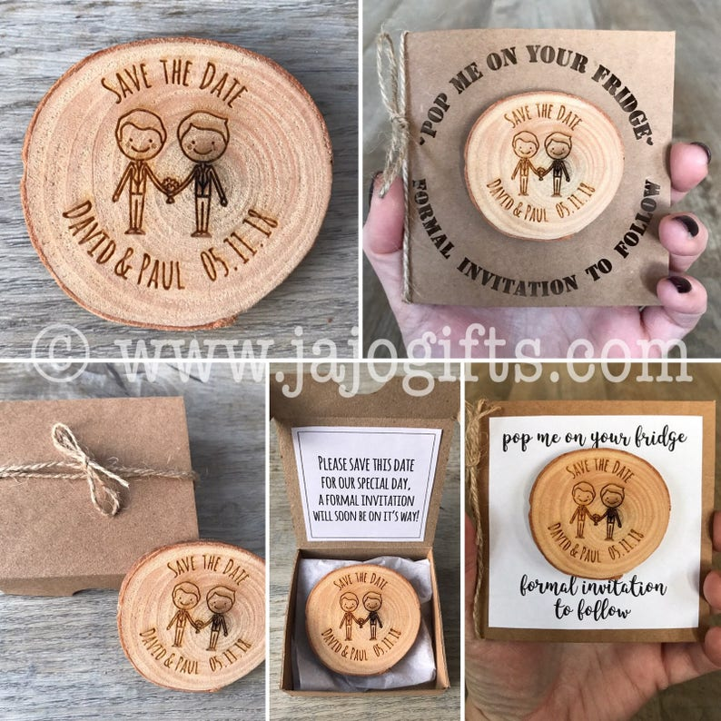 Personalised engraved wood log slice save the date can add magnet* card or box for the perfect unique item mr and mr same sex marriage