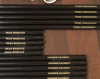 Personalised engraved pencil recycled newspaper quirky black pencils for writing and drawing stationary choose your quantity