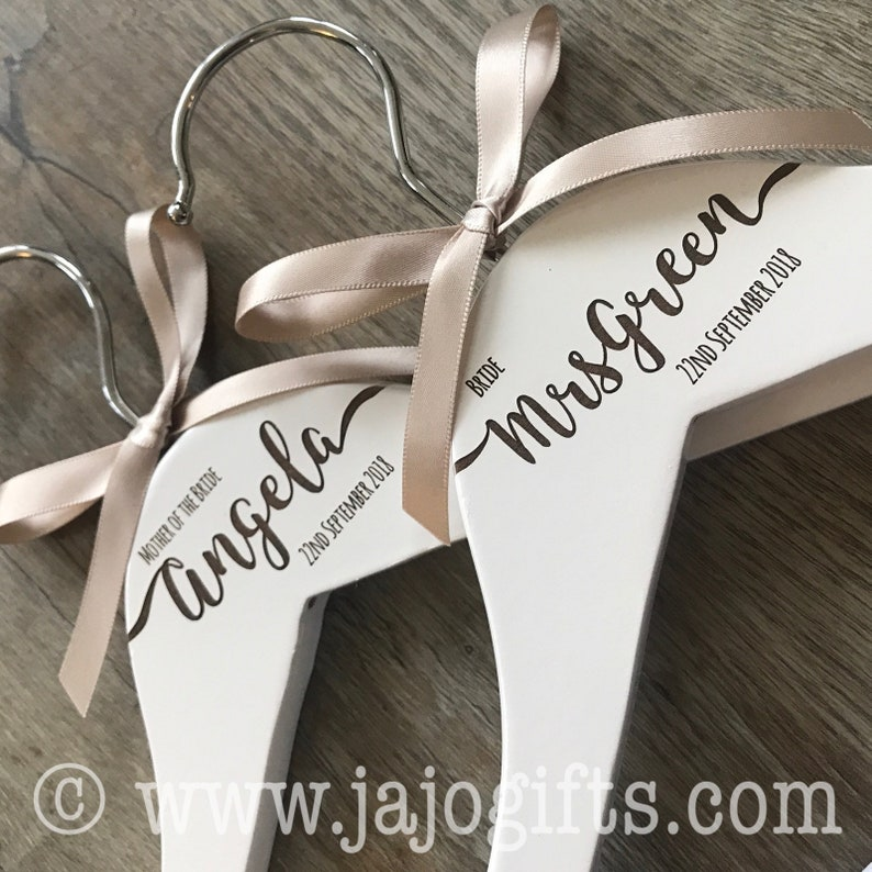 Four Generic Wooden Wedding Coathanger Bride Groom Bridesmaid Maid of Honour Best Man Usher Gift with Ribbon
