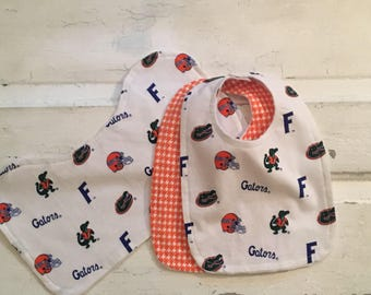 SALE  !!!  Adorable University of Florida Baby Bib Set and Burp Cloth Set! FREE SHIPPING !!!!!!!
