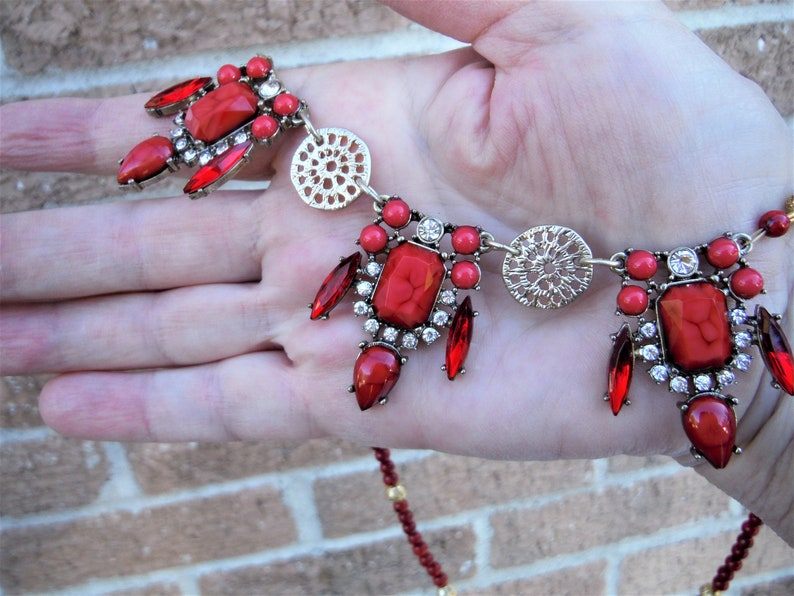 red and gold... Jewelry set from vintage upcycled necklace and new components rhinestones