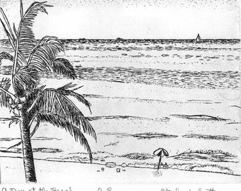 Day at the Beach  - Original Etching & Engraving, Hand-printed, Limited Edition
