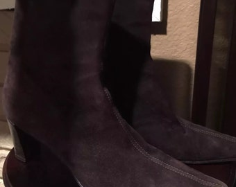 f062274f2a8d5 Vintage Italian Ankle Boots Dark Brown Suede Leather - Made in Italy SZ  9.5M - Vero Cuoio