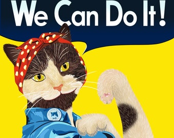 Rosie the Riveter Cat - We Can Do It! 8x10 print