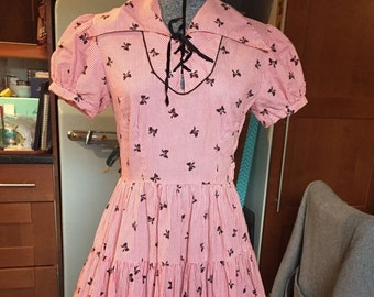 Big sale Vintage 40s novelty print square dance dress Rockabilly swing dress one Day Sale !! Was 125