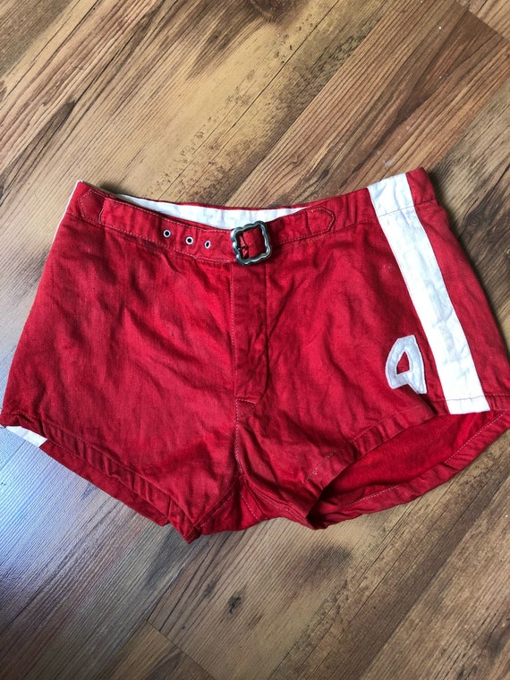 1940s red men's basketball shorts true vintage