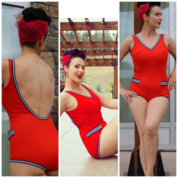 Vintage nautical swimsuit rockabilly pinup red