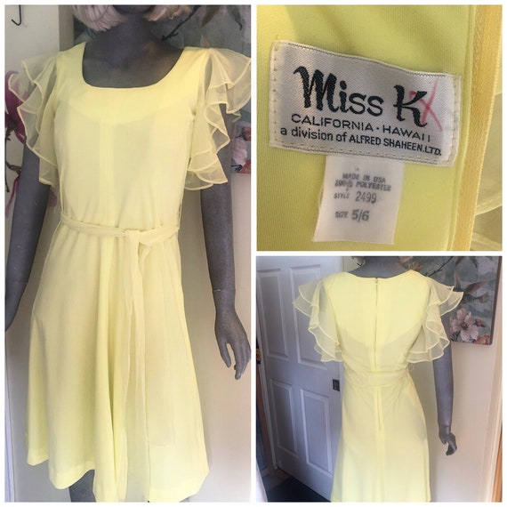 Vintage Miss K Shaheen dress sheer flutter sleeve