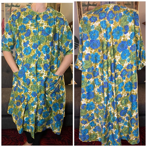 Vintage 1950s day dress robe swing style floral