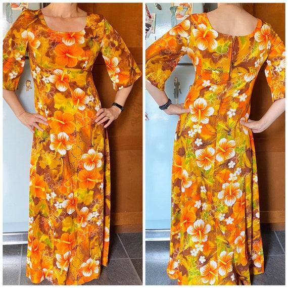 Vintage Ui Maikai barkcloth Hawaiian maxi dress