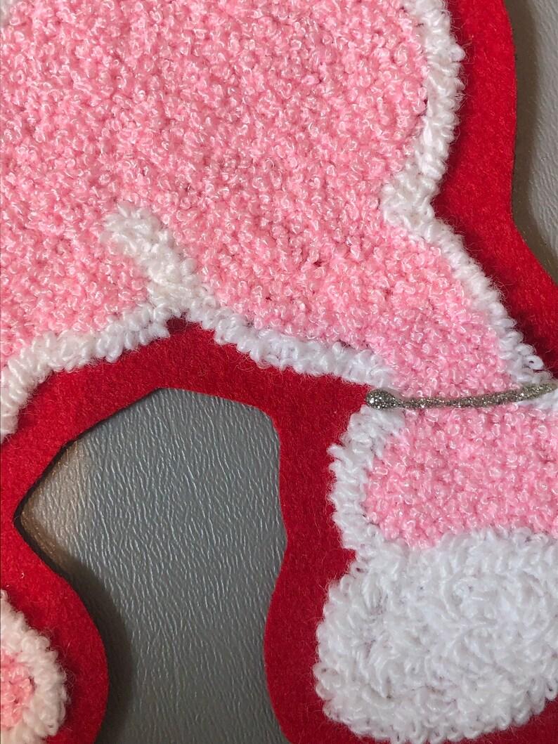Vintage chainstitch pink poodle on red felt