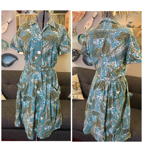 Vintage 50s cotton house dress M/L