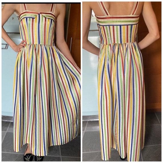 Vintage rainbow 1940s dress