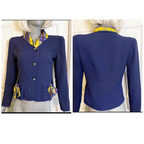 Vintage 1940s jacket blazer top navy blue with rai