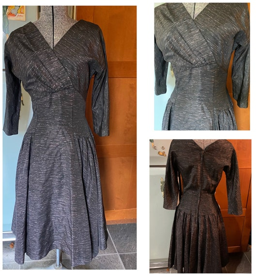 Vintage 1950s grey tea dress Joy Frock