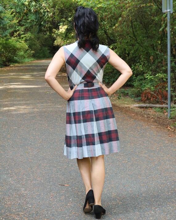 1940s fall school girl pinafore dress plaid - image 3