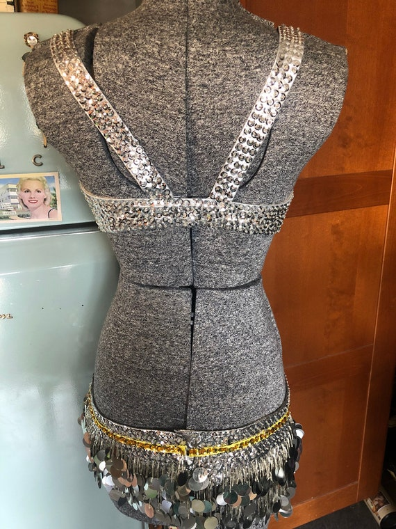 Vintage belly dance or burlesque costume silver - image 6