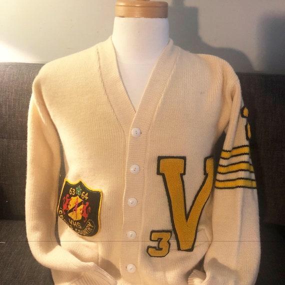 Vintage 1960s varsity cardigan sweater for cross c