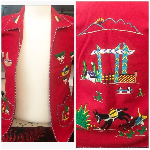 Vintage Mexican souvenir wool jacket xs tourist