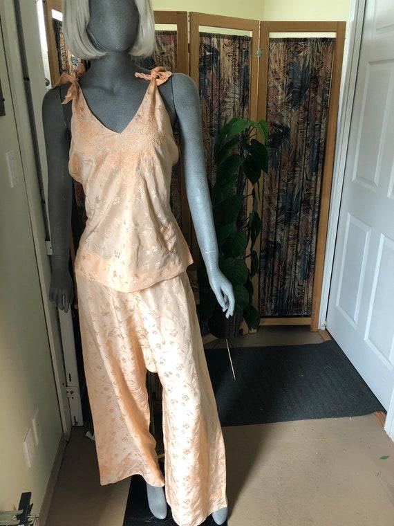 Vintage light peach pyjama set with embroidery