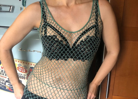 Vintage belly dance burlesque beaded mesh tank fes